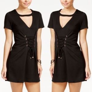 Material Girl Lace Up Cutout Dress In Black